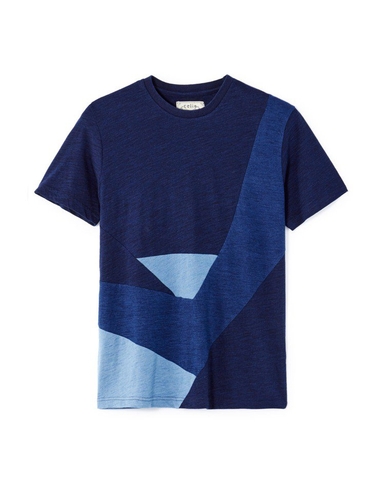 celio Indigo幾何色塊T恤,1,580元。圖/celio提供