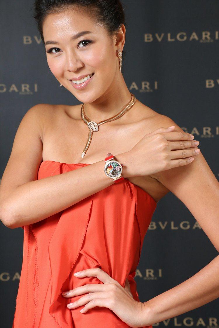寶格麗推出超薄三問與複雜腕錶,邀請名模林又立展示。記者陳立凱/攝影