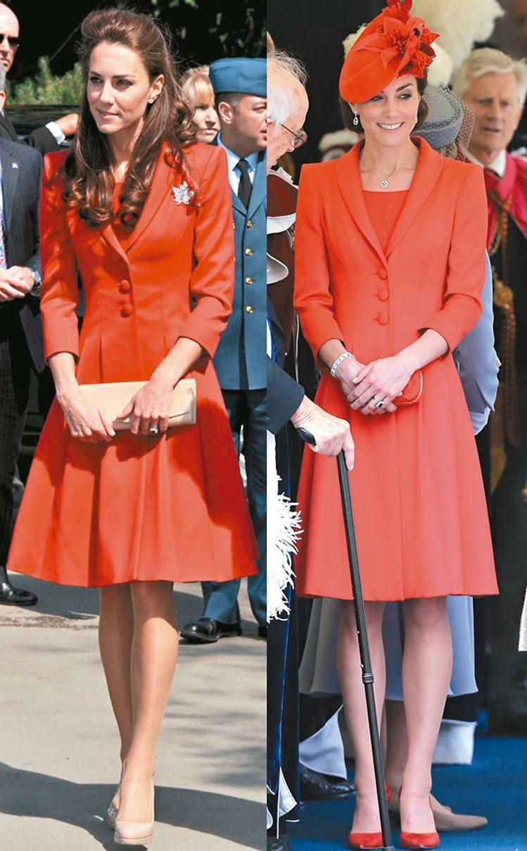 凱特王妃2016、2011年都穿著同件Catherine Walker洋裝大衣出...