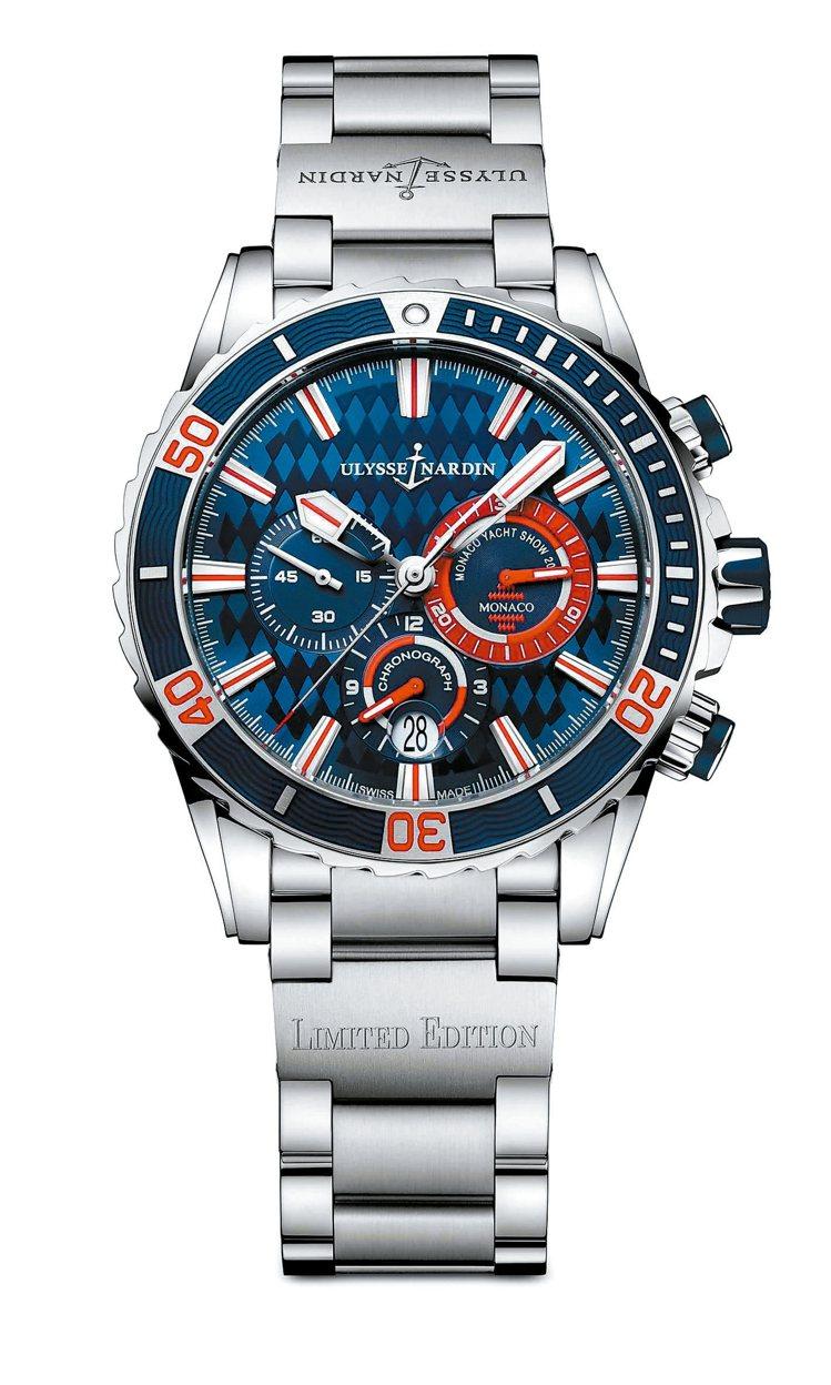 帆船表為設計主軸的摩納哥潛水計時腕表,建議售價44萬3750元。 雅典表/提供