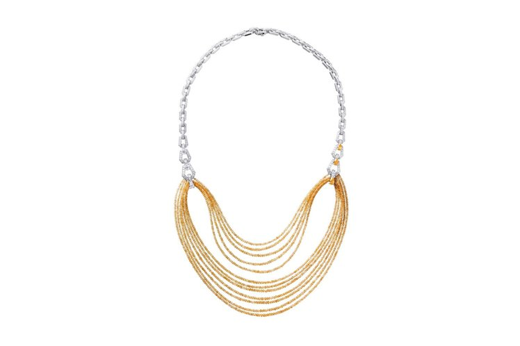 Divination系列黃鑽項鍊,鉑金,黃色偏橘到橘色的切面鑽石圓珠,黃色偏橘的...