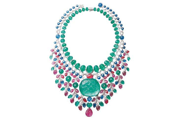 Rajasthan系列Tutti Frutti項鍊,鉑金,主石為136.97克拉...