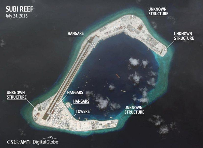 美國衛星圖:渚碧礁。 圖/路透社