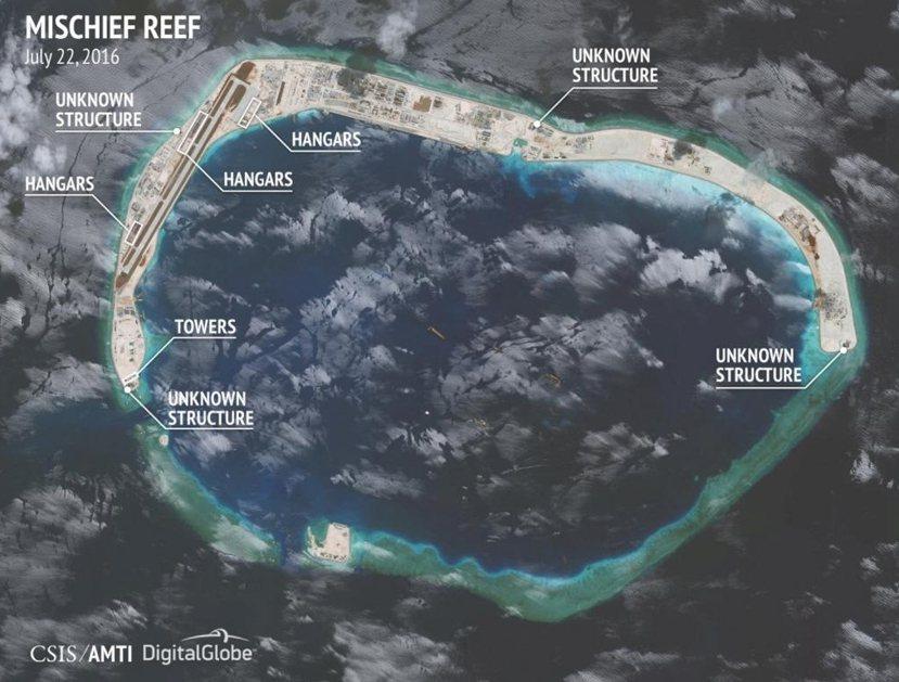 美國衛星圖:美濟礁。 圖/路透社