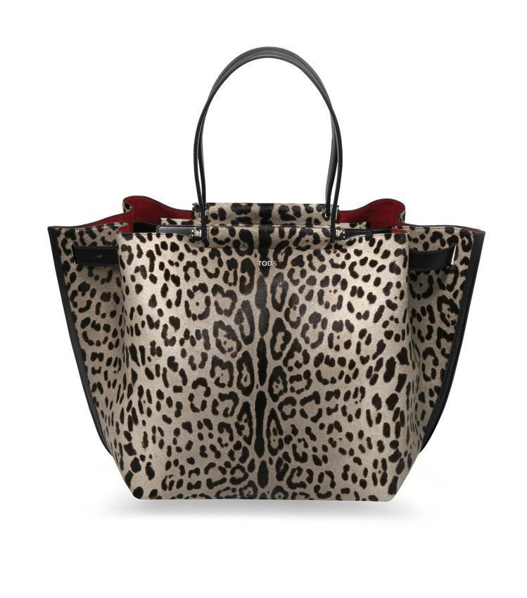 TODS 灰色豹紋Wave Shopping Bag,售價100,300元。圖/...