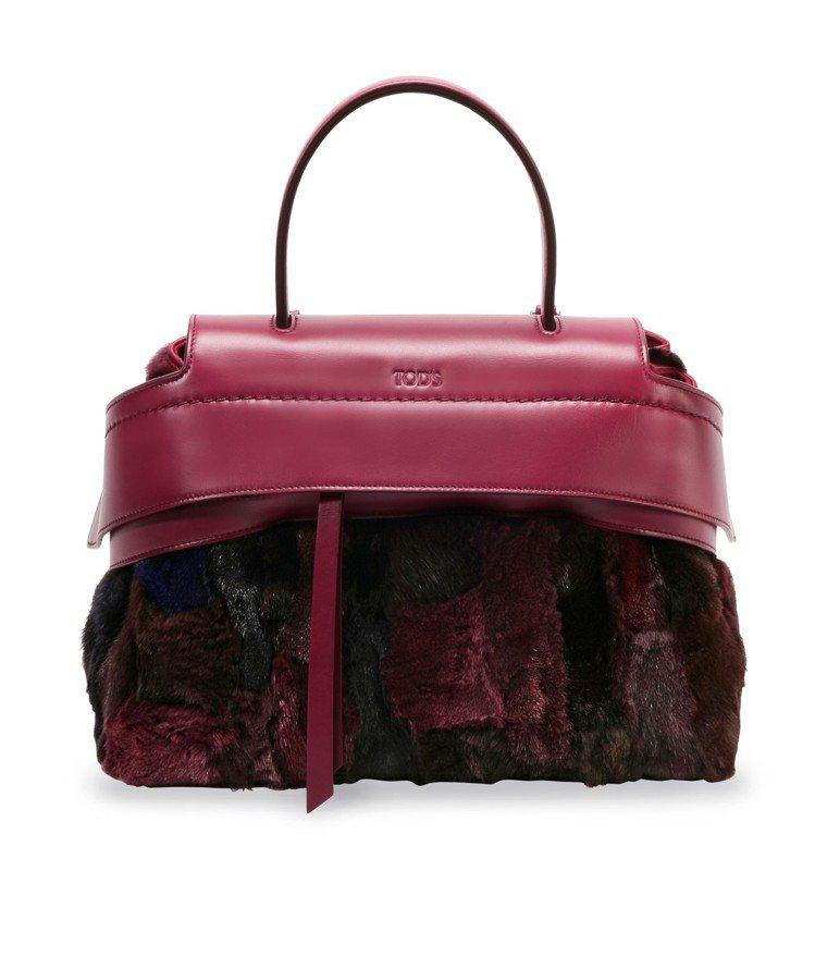 TODS狐狸毛拼色Wave Bag,售價82,400元。圖/TODS提供