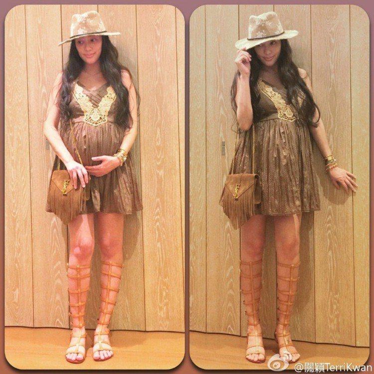 關穎直到懷孕八個月孕肚才比較明顯,背著YSL麂皮包入鏡。圖/擷自微博