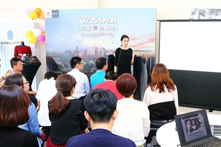 國際彩妝造型總監 Michelle Chang現場示範最新秋冬彩妝畫法。 SUZ...