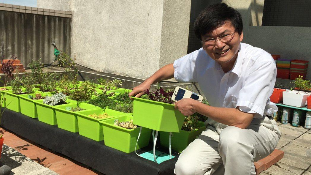 交大環工所教授高正忠研發新型綠屋頂裝置,解決傳統排水、悶熱問題。記者蔡昕穎/攝影