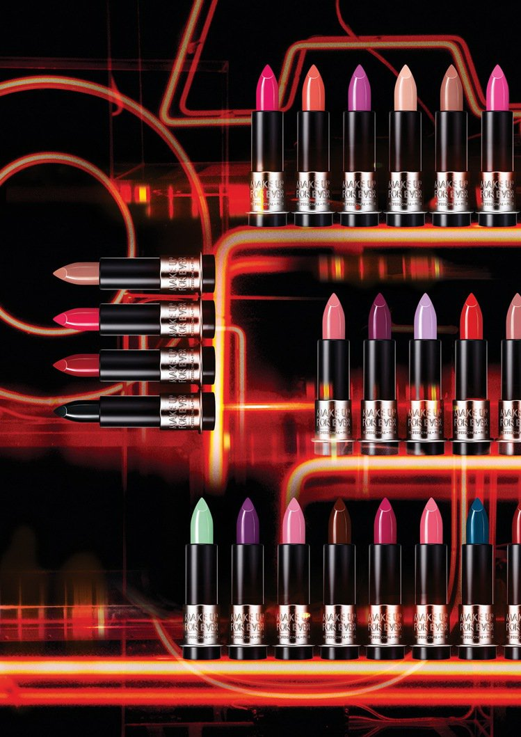 MAKE UP FOR EVER藝術大師玩色唇膏系列推出多達46種色選。圖/MA...