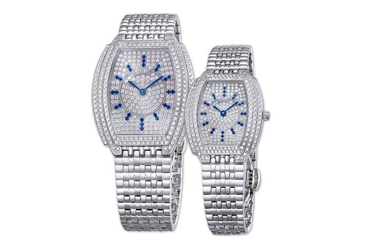 愛其華晶華珠寶表有著獨特的酒桶造型設計,讓手腕和腕表更服貼。圖/Ogival提供