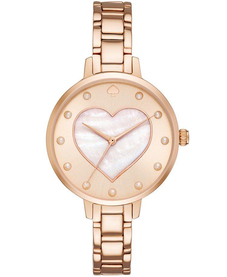 kate spade new york 玫瑰金暖心腕表,9,200元。圖/kat...