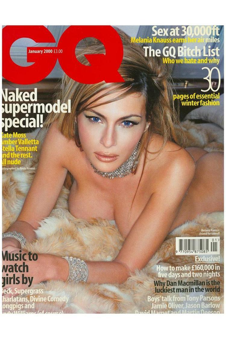 梅蘭妮亞在當上川普夫人後,曾為GQ雜誌封面寬衣解帶、全裸人鏡。圖/翻攝自GQ雜誌