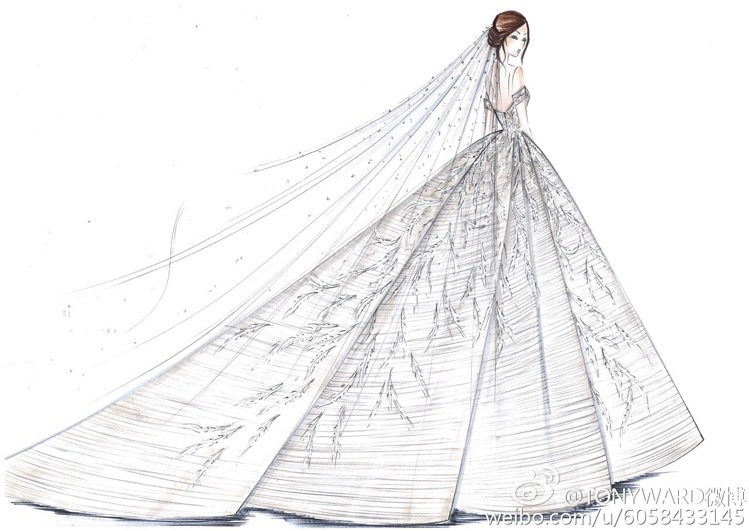 張靚穎的純白婚服由TONY WARD親自設計。圖/摘自TONYWARD微博