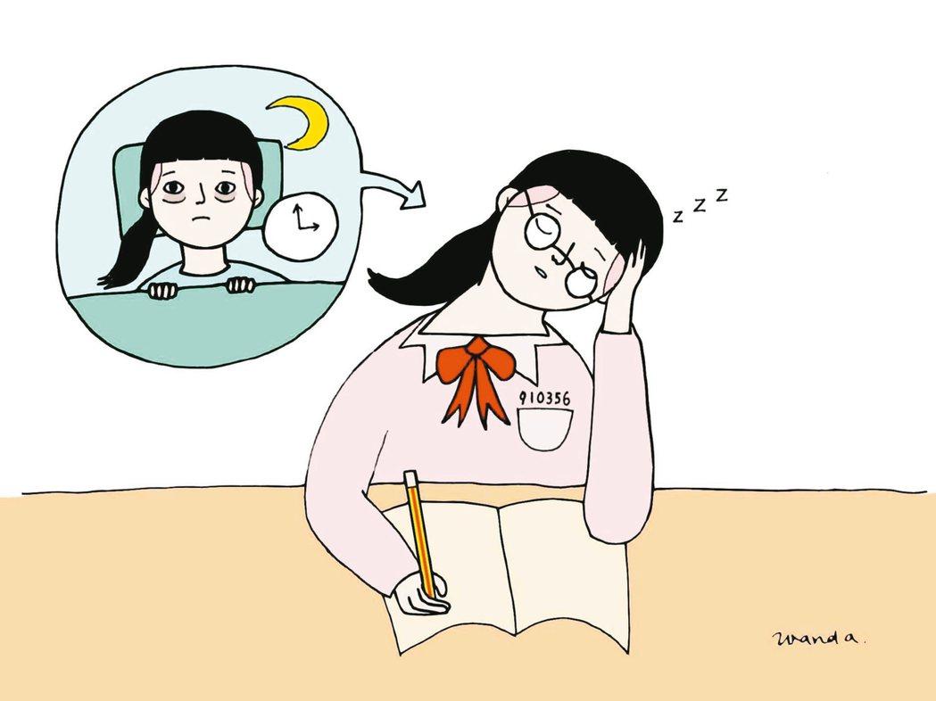 讓高中生延後上學真的有幫助嗎? 圖/徐婉瑜繪