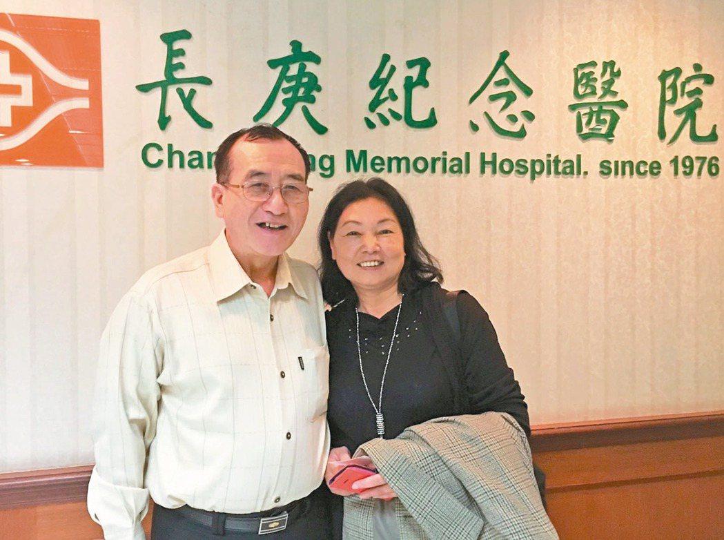 黃先生(左)罹患黑色素癌,腫瘤轉移,免疫治療後腫瘤明顯縮小。 記者鄧桂芬/攝影