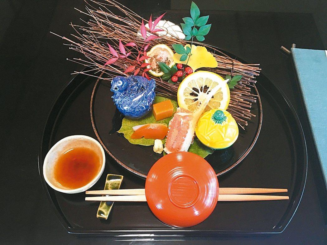 懷石料理,講究四季食材運用,食物器皿擺盤的意境更是蘊涵禪意。 圖/有行旅提供