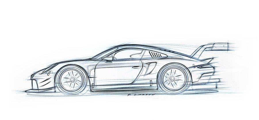 911 RSR賽車設計草圖。 Porsche提供