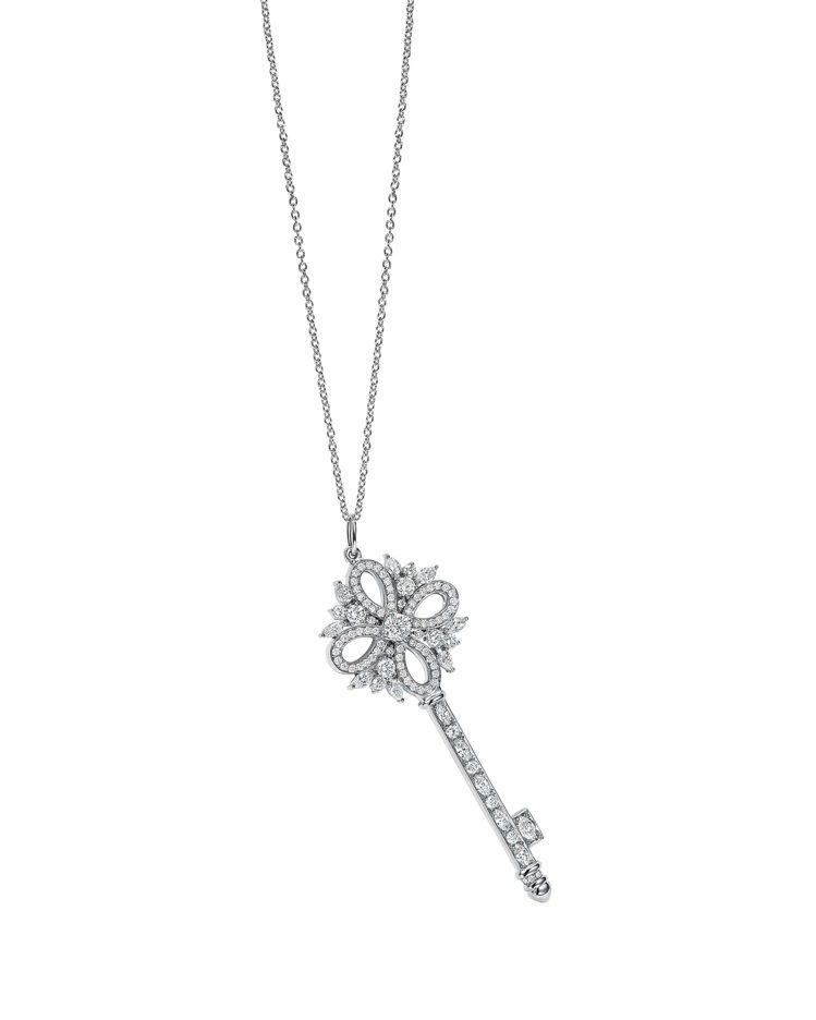 Tiffany Keys Victoria 鉑金鑽石鑰匙鍊墜40萬1,000元(...