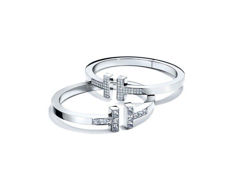 Tiffany T Square手鐲 (上) 18K白金鋪鑲鑽石手鐲38萬2,0...