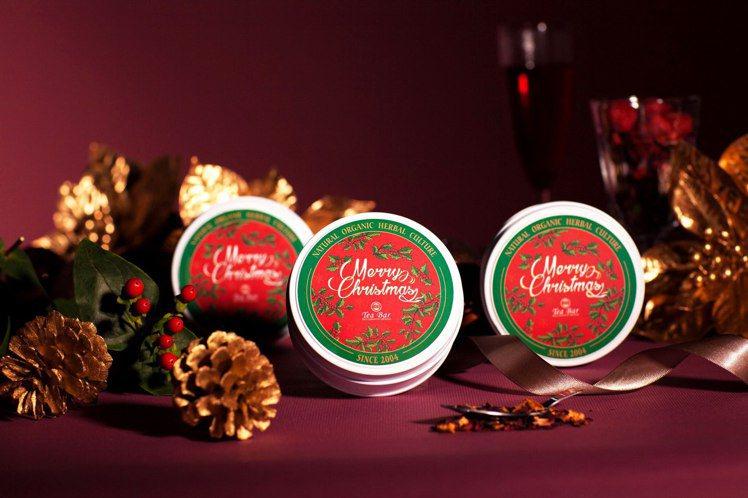 B&G德國農莊Tea Bar繽紛耶誕限定茶罐組,內含圓鐵茶罐、葉形茶匙和耶誕禮袋...