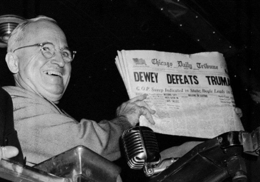 民調導致媒體出包案例:由於過於信任民調預測杜威勝選,誰也未預料杜魯門會逆轉勝,美...