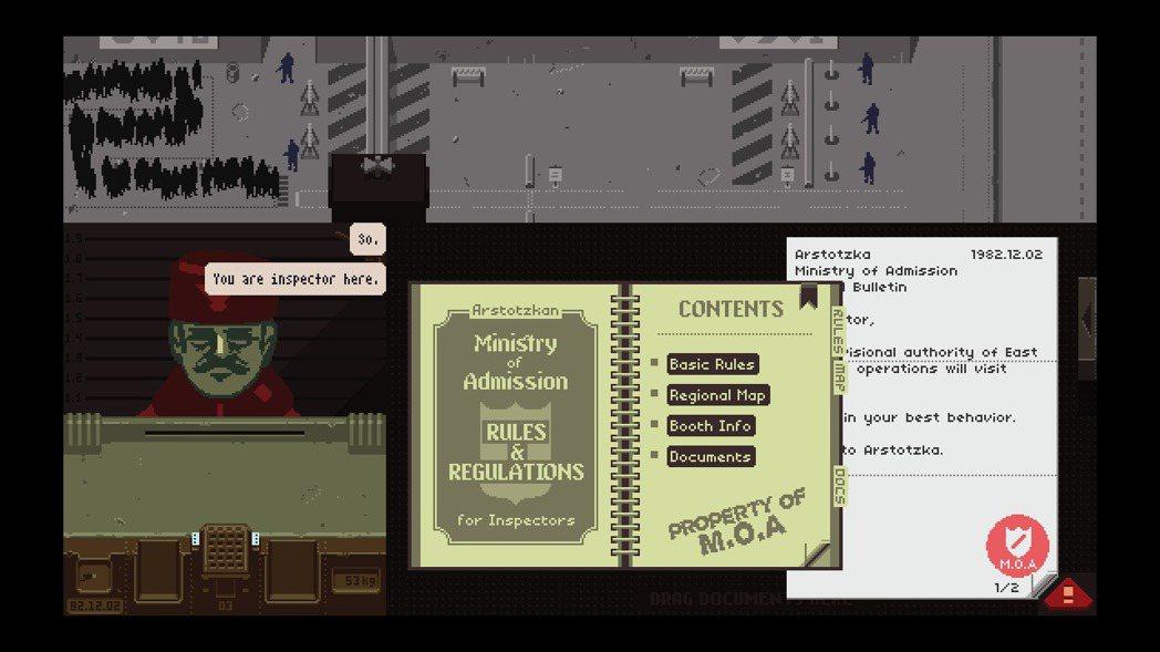 獲得許多獎項的《Papers, Please》,玩家扮演審查旅客護照證件的海關人...