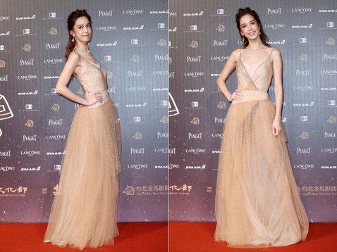以電影「失控謊言」入圍「最佳新演員」陳庭妮現身金馬星光大道紅毯。