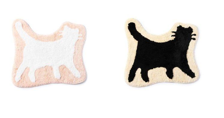 柔軟的貓咪造型地墊為房間、玄關、廁所增添趣味,780元。圖/Afternoon ...