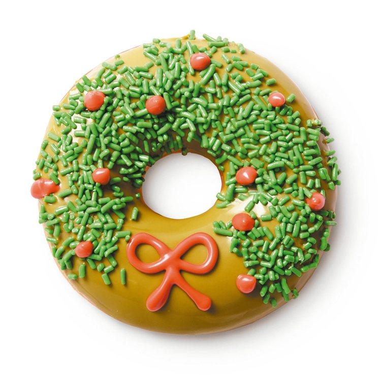 聖誕限定版甜甜圈─幸運耶誕環,售價50元。圖/Krispy Kreme提供