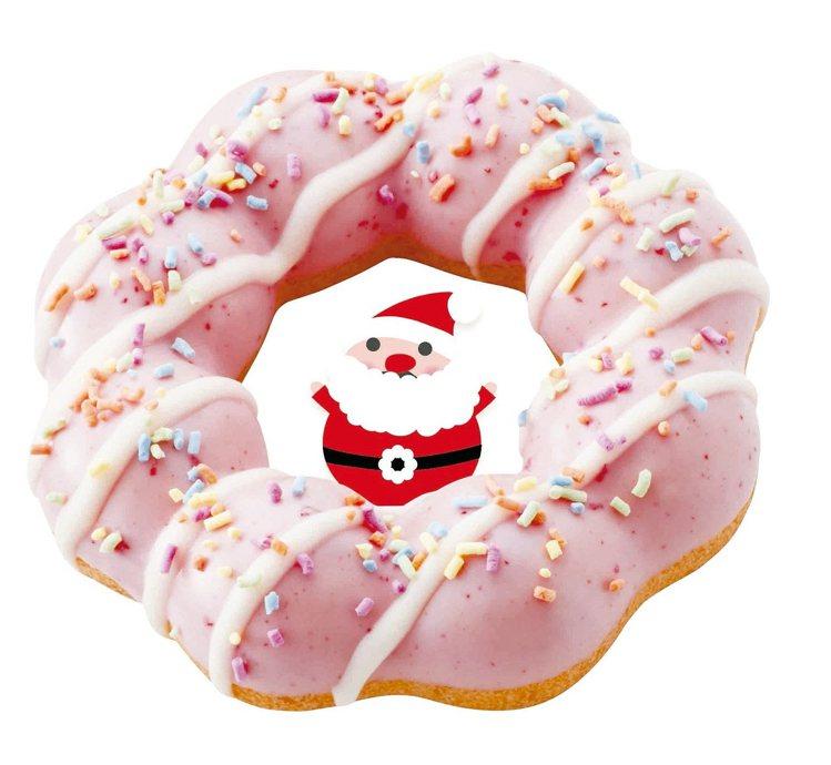 聖誕限定版甜甜圈─Mister Donut耶誕草莓波堤,售價40元。圖/Mist...