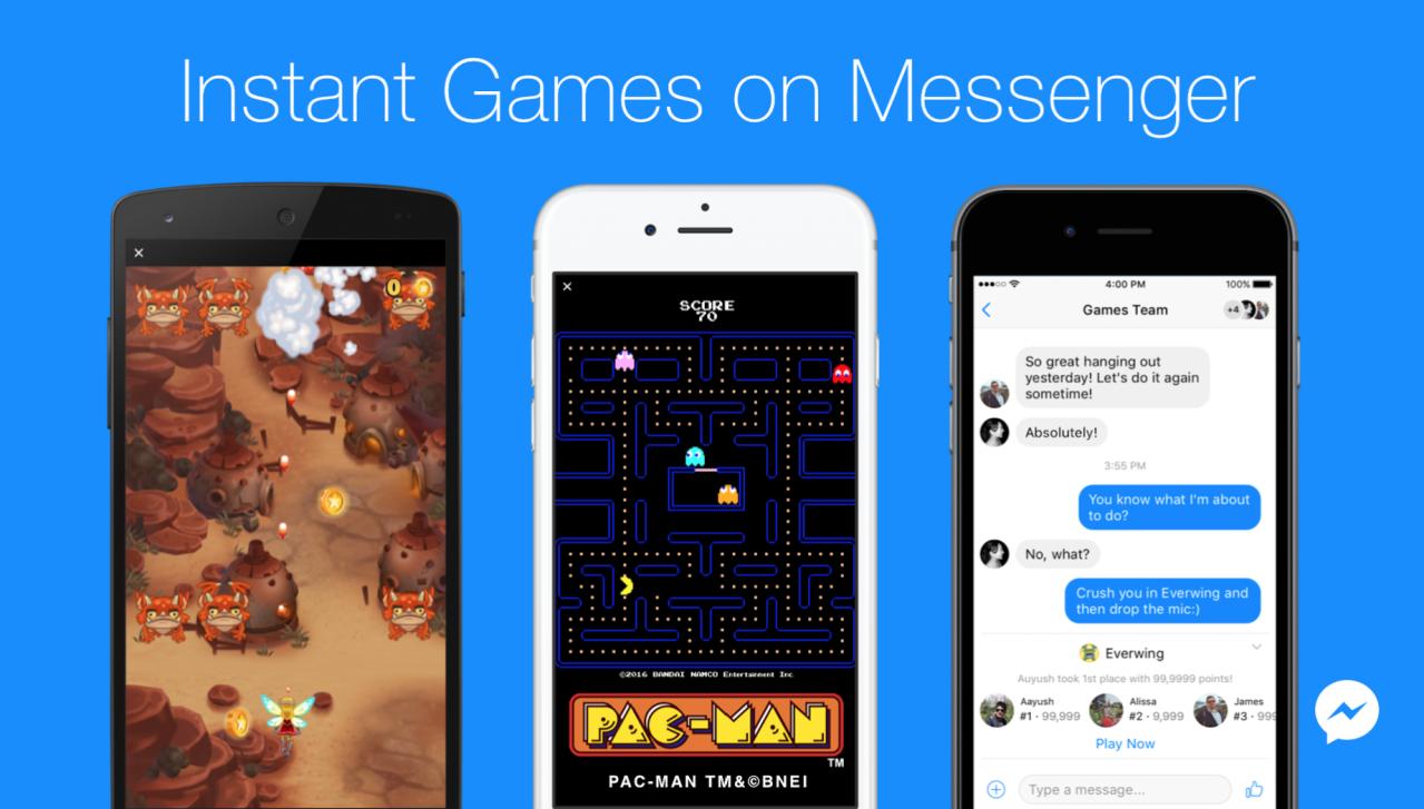 臉書發表「即時遊戲」功能,讓用戶透過Messenger軟體,或直接透過動態時報功...