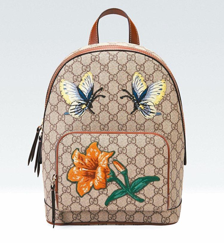 GUCCI 耶誕節推出 台灣限定蝴蝶與百合刺繡後背包, 51,700元。 ...