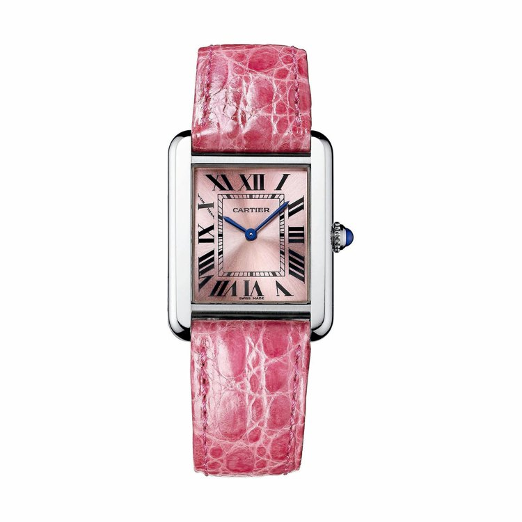 卡地亞TANK Solo系列粉色珠光表盤精鋼腕表,80,000元...