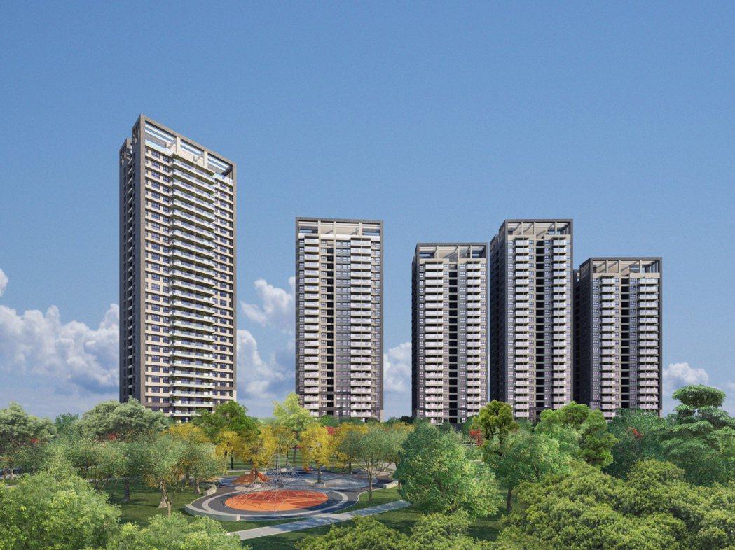 「富邦大無疆」五棟的樓層高低錯落,豐富了天際線。 圖片提供/富邦建設