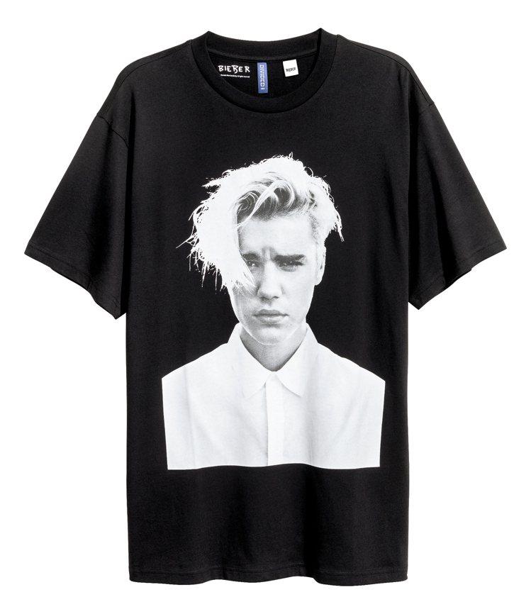 小賈斯汀全球巡演登場,肖像紀念T恤在H&M就買得到。圖/H&M提供