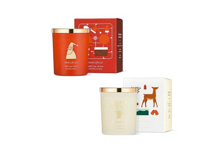innisfree本季設計花果香與木質粉味兩款香氛蠟燭,100g、690元。 圖...