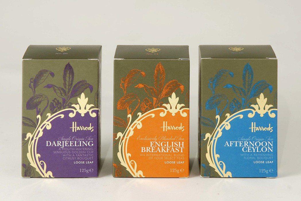 英國百年品牌Harrods大吉嶺茶(左至右)、英式早餐茶和錫蘭紅茶。150g散裝...
