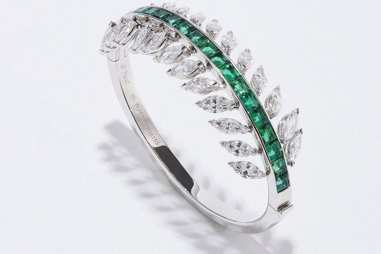 鉑金手鐲,鑲飾24顆馬眼形切割鑽石(約重9.60克拉)及20顆長方形切割尚比亞袓...