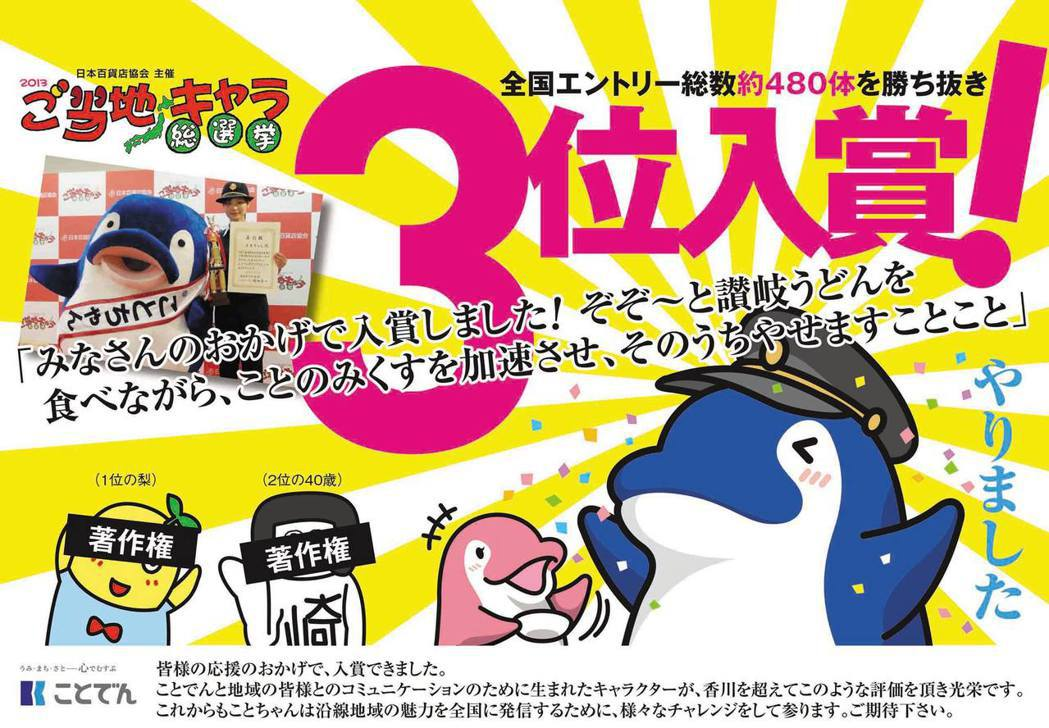 在日本每年都會舉辦的各地吉祥物競賽中,琴電吉祥物KotoChan獲得2013年日...