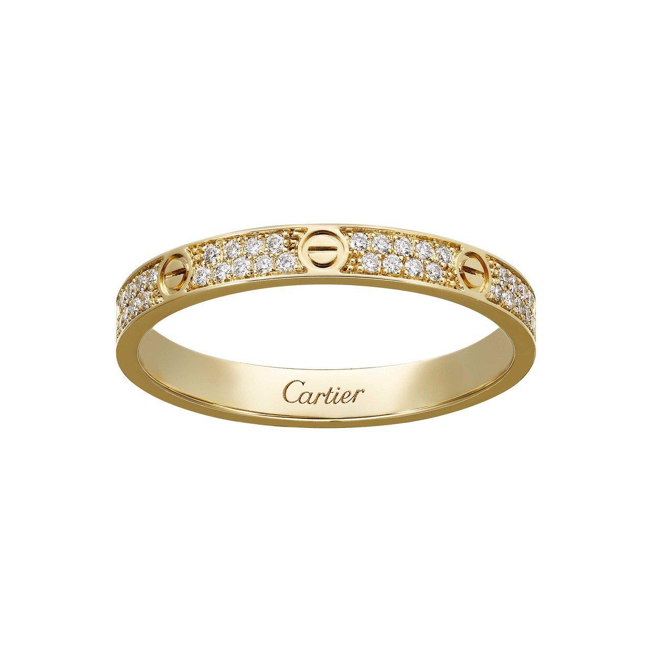 卡地亞 LOVE 系列全鋪鑲鑽石戒指(細版),黃K金約14萬6,000元。圖/卡...