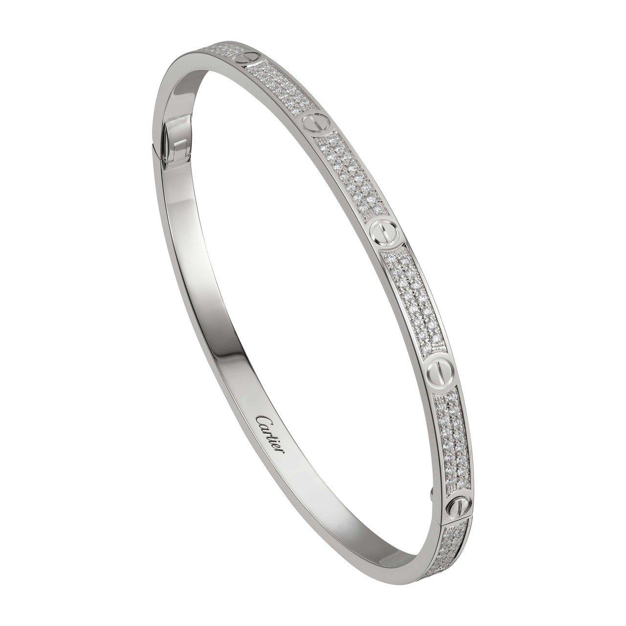 卡地亞 LOVE 系列全鋪鑲鑽石手環(窄版),白K金,約86萬5,000元。圖/...