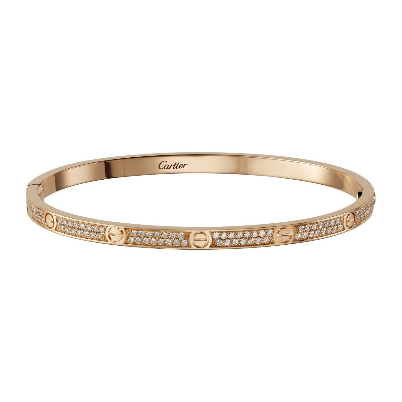 卡地亞 LOVE 系列全鋪鑲鑽石手環(窄版),玫瑰K金,約81萬元。圖/卡地亞提...
