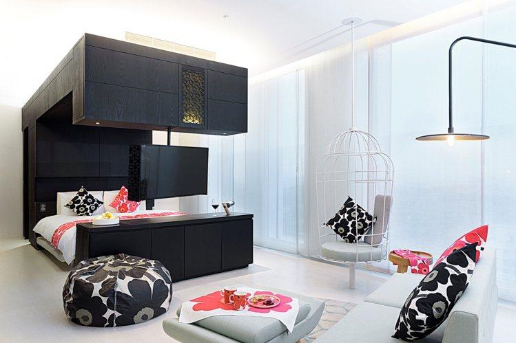 Marimekko在台南老爺行旅打造Enjoy Mari Suite品味套房。圖...