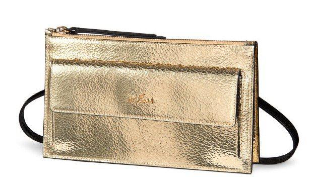 金色壓紋手拿包,售價23,900元。圖/HOGAN提供
