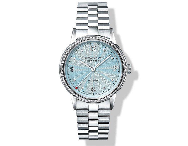Tiffany CT60 3-Hand冰藍色表盤鍊帶腕表,自動上鍊機芯,31萬6...