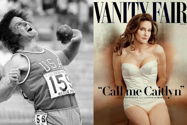 1976年蒙特婁奧運十項鐵人得主Bruce Jenner(左),在經過賀爾蒙的療...