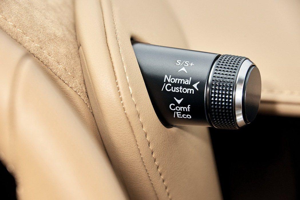方向盤右上方的旋鈕,可以控制包括Eco、Normal、Sport及Sport+模...