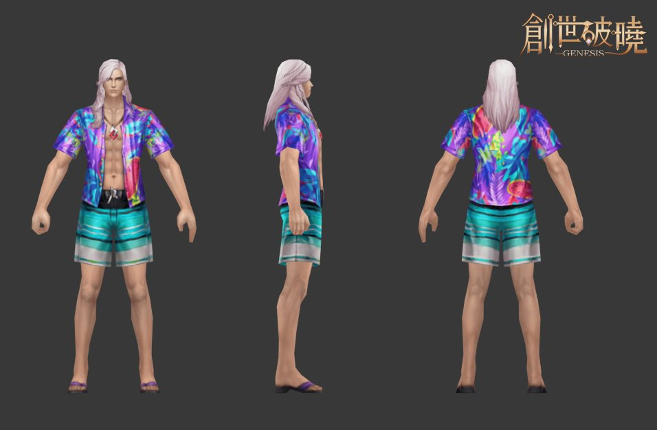 創世破曉美術設計之法師的夏日時裝原畫,炎炎夏日最爽快的事就是穿成這樣去沙灘玩耍了...