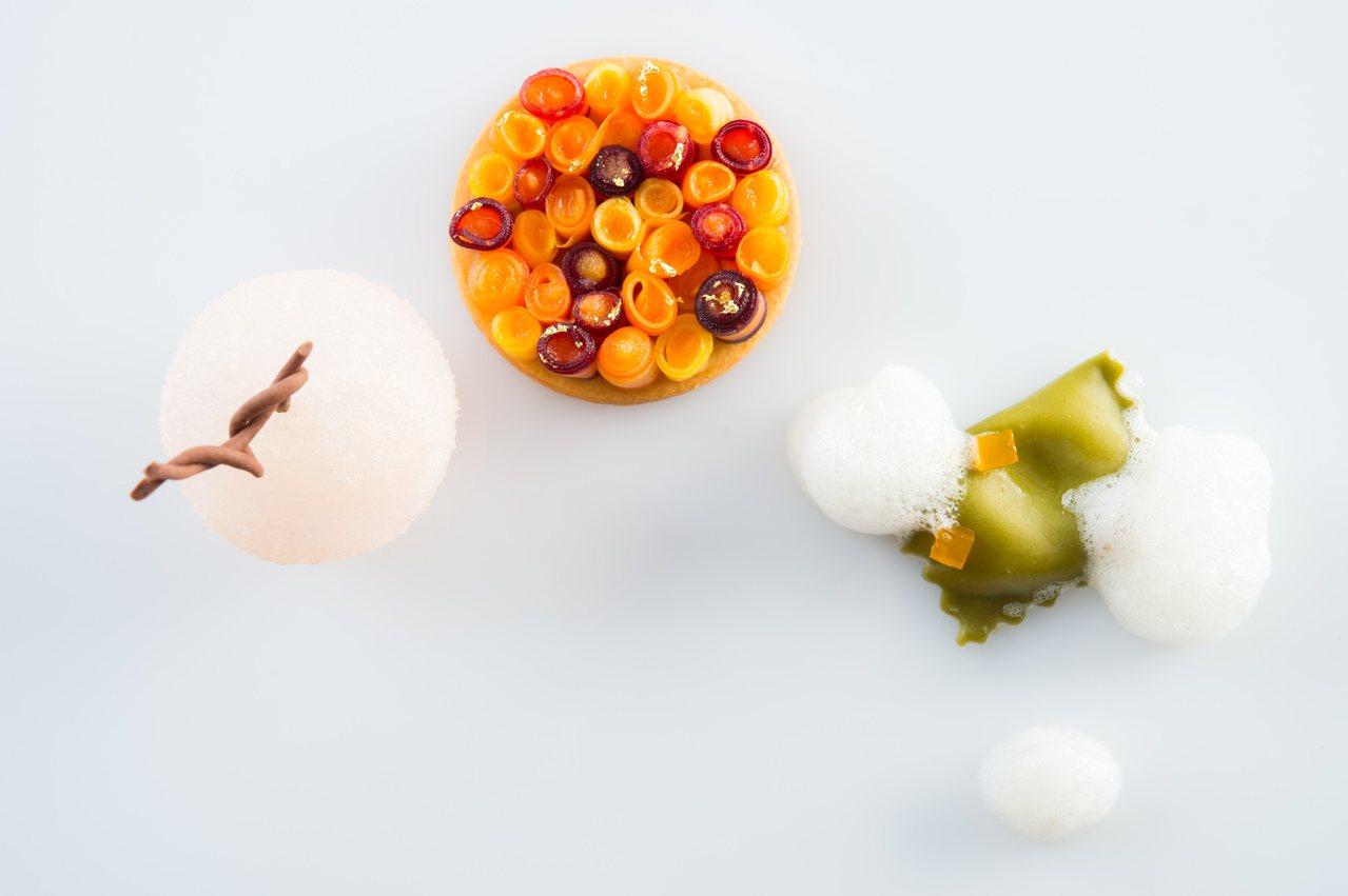 集合三種甜點的盤式甜點「溫度」,680元(含一款指定飲品)。圖/台北晶華酒店提供